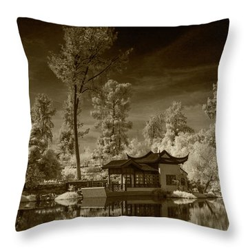 Throw Pillow featuring the photograph Chinese Botanical Garden In California With Koi Fish In Sepia Tone by Randall Nyhof