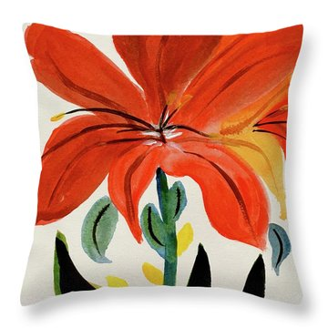 Chinese Brush Work Bee And Flower Throw Pillow