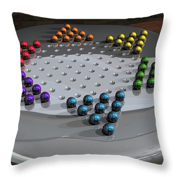 Chinese Checkers Throw Pillow by James Barnes