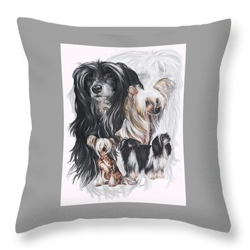 Chinese Crested And Powderpuff W/ghost Throw Pillow by Barbara Keith