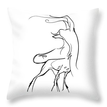 Chinese Crested Gesture Sketch Throw Pillow