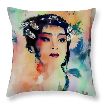 Chinese Cultural Girl - Digital Watercolor  Throw Pillow