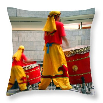 Chinese Drummers At Work Throw Pillow by Yali Shi