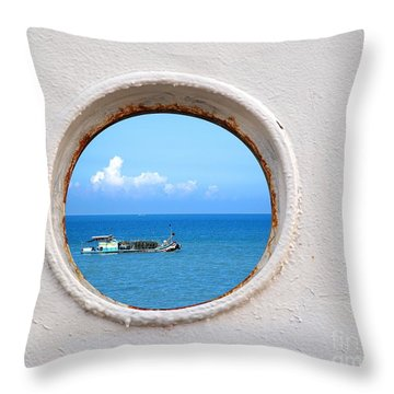 Chinese Fishing Boat Seen Through A Porthole Throw Pillow by Yali Shi