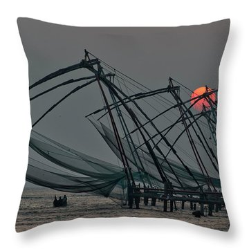 Chinese Fishing Nets, Cochin Throw Pillow by Marion Galt