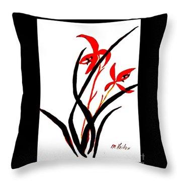 Chinese Flowers Throw Pillow by Marsha Heiken