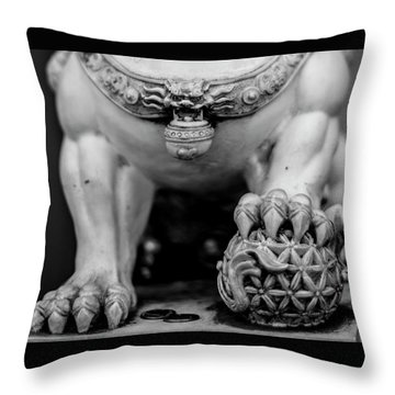 Chinese Guardian Lions Shishi Throw Pillow