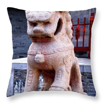 Throw Pillow featuring the photograph Chinese Guardian by Marti Green