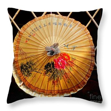 Throw Pillow featuring the photograph Chinese Hand-painted Oil-paper Umbrella by Yali Shi