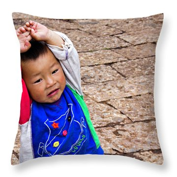 Chinese Boy Joy Throw Pillow