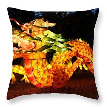Throw Pillow featuring the photograph Chinese Lantern In The Shape Of A Dragon by Yali Shi