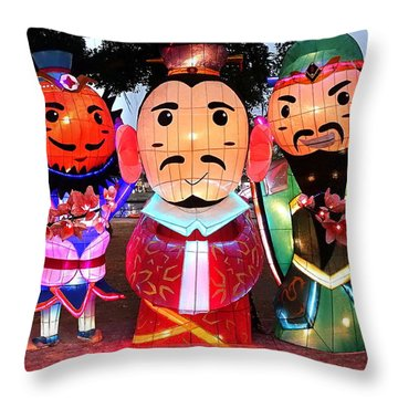 Throw Pillow featuring the photograph Chinese Lanterns In The Shape Of Three Wise Men by Yali Shi