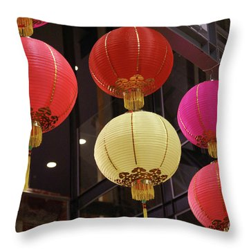 Chinese Lanterns Vancouver Chinatown Throw Pillow