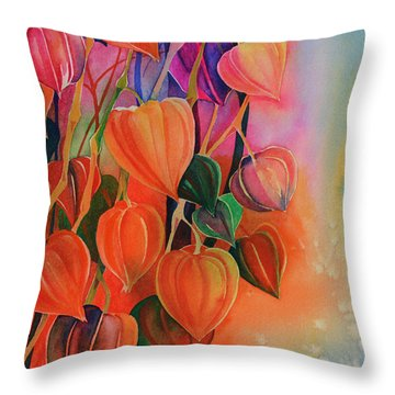 Chinese Lanterns Throw Pillow by Zaira Dzhaubaeva