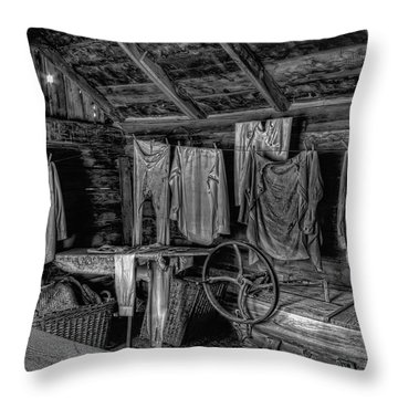 Chinese Laundry In Montana Territory Throw Pillow by Daniel Hagerman