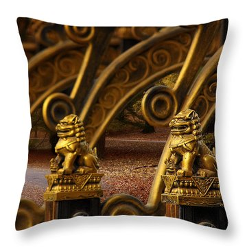 Chinese Lions - Luck Prosperity Power Grandeur Throw Pillow by Christine Till