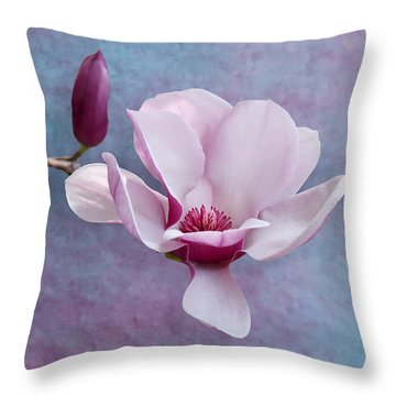 Chinese Magnolia Flower With Bud Throw Pillow