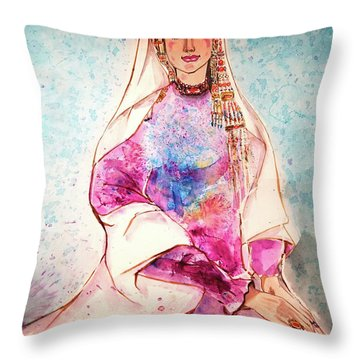 Chinese Minority Woman With Ocean Blue Background Throw Pillow
