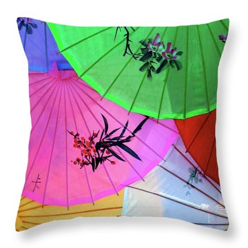 Chinese Parasols Throw Pillow