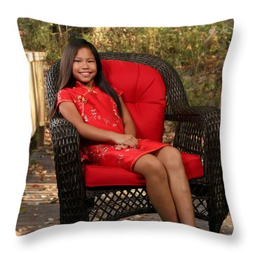 Chinese Princess Throw Pillow by Robert Hebert
