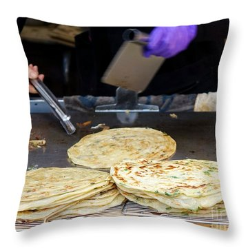 Throw Pillow featuring the photograph Chinese Street Vendor Cooks Onion Pancakes by Yali Shi