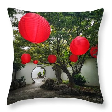 Chinese Tea Garden In Portland, Oregon Throw Pillow