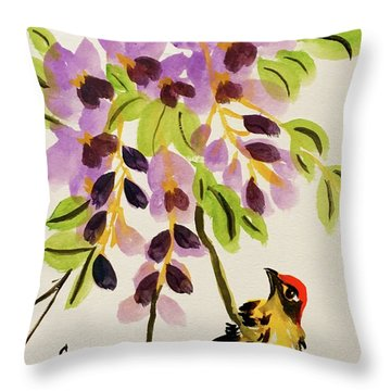 Chinese Wisteria With Warbler Bird Throw Pillow