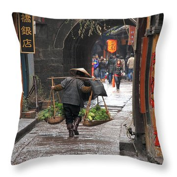 Chinese Woman Carrying Vegetables Throw Pillow by Valentino Visentini