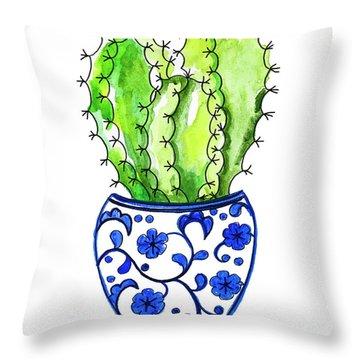 Chinoiserie Cactus No3 Throw Pillow