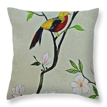Chinoiserie - Magnolias And Birds #1 Throw Pillow