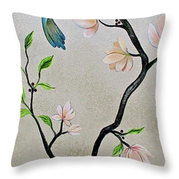 Chinoiserie - Magnolias And Birds #5 Throw Pillow