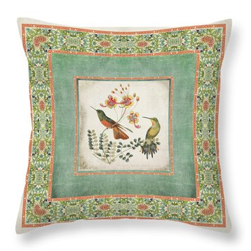 Chinoiserie Vintage Hummingbirds N Flowers 1 Throw Pillow