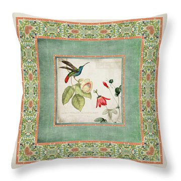 Chinoiserie Vintage Hummingbirds N Flowers 2 Throw Pillow