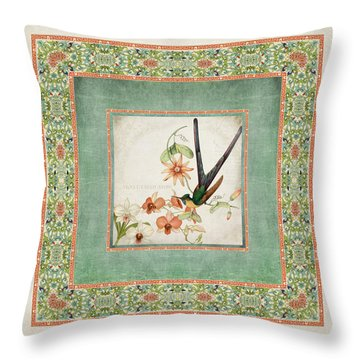 Chinoiserie Vintage Hummingbirds N Flowers 3 Throw Pillow