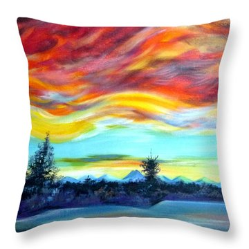 Throw Pillow featuring the painting Chinook Arch Over Bow River by Anna  Duyunova