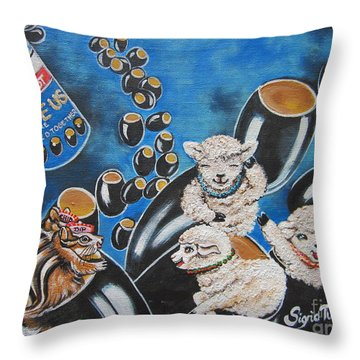 Flygende Lammet  Productions    Like It Or Not  Olive Us On Board  Throw Pillow