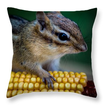 Chipmunk Goes Wild For Corn Throw Pillow