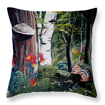 Chipmunk On A Log Throw Pillow by Renate Nadi Wesley