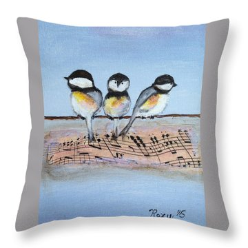 Chirpy Chickadees Throw Pillow by Roxy Rich
