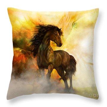 Chitto Black Spirit Horse Throw Pillow