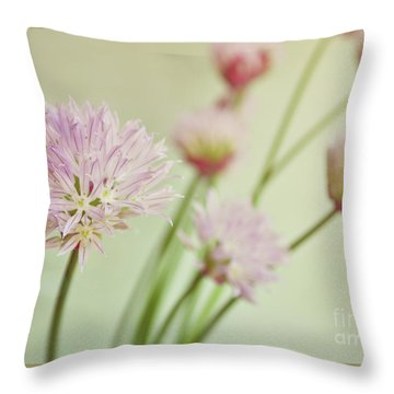 Chives In Flower Throw Pillow by Lyn Randle