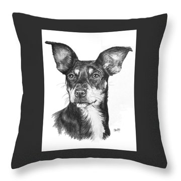 Chiweenie Throw Pillow by Barbara Keith