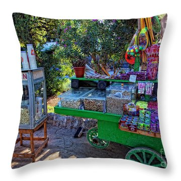 Chloe's Popcorn Dream Throw Pillow by Madeline Ellis