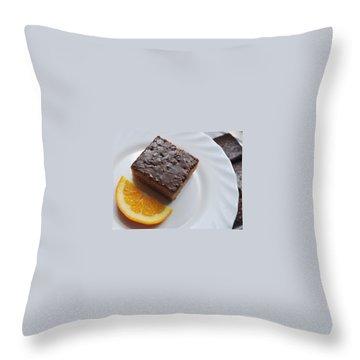 Chocolate And Orange Throw Pillow by Marija Djedovic