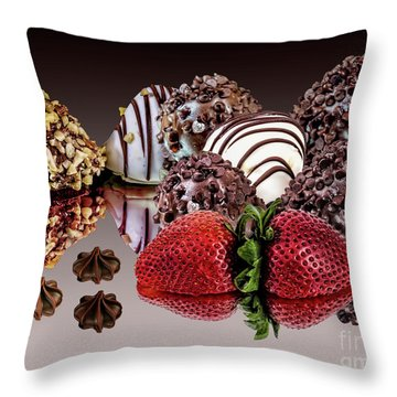 Chocolate And Strawberries Throw Pillow by Shirley Mangini