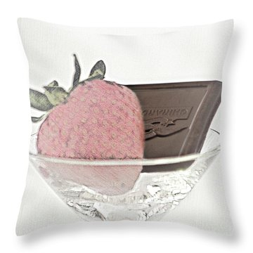 Chocolate And Strawberry Martini Throw Pillow