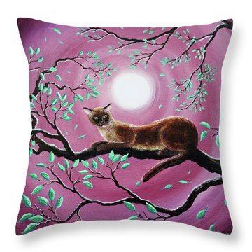 Chocolate Burmese Cat In Dancing Leaves Throw Pillow by Laura Iverson