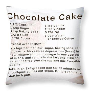 Chocolate Cake Recipe Throw Pillow