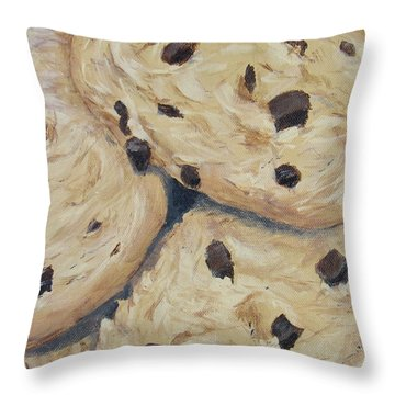 Throw Pillow featuring the painting Chocolate Chip Cookies by Nancy Nale