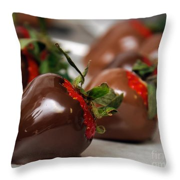 Chocolate Covered Strawberries 2 Throw Pillow by Andee Design
